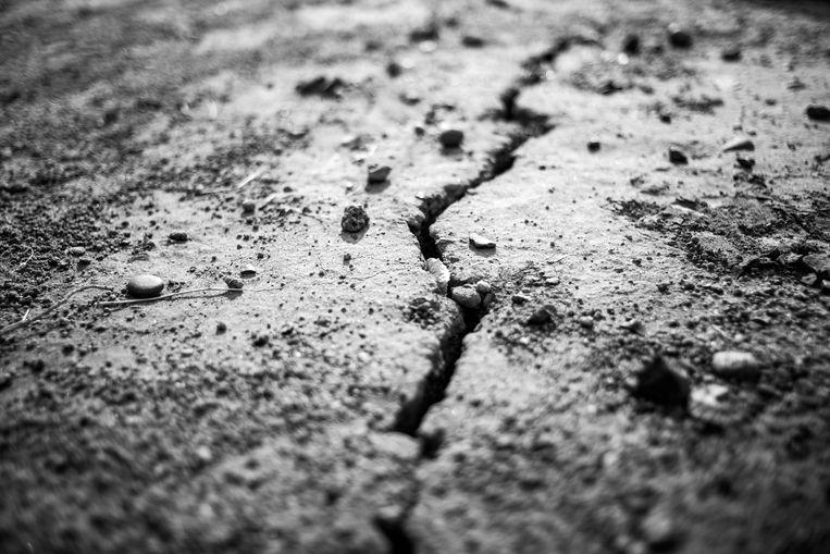 Een scheur die is ontstaan door een van de aardbevingen die zich sinds het begin van de boringen hebben voorgedaan in Neuguén Beeld Pablo E. Piovano