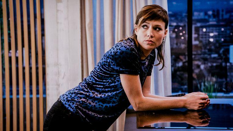 Erika Van Tielen op de set van 'Familie'.