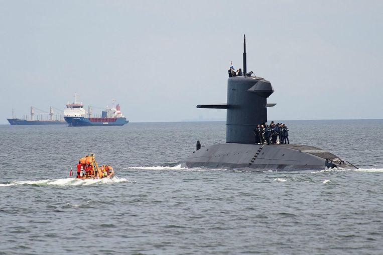 Een Nederlandse onderzeeër tijdens een militaire oefening in Polen. Beeld EPA