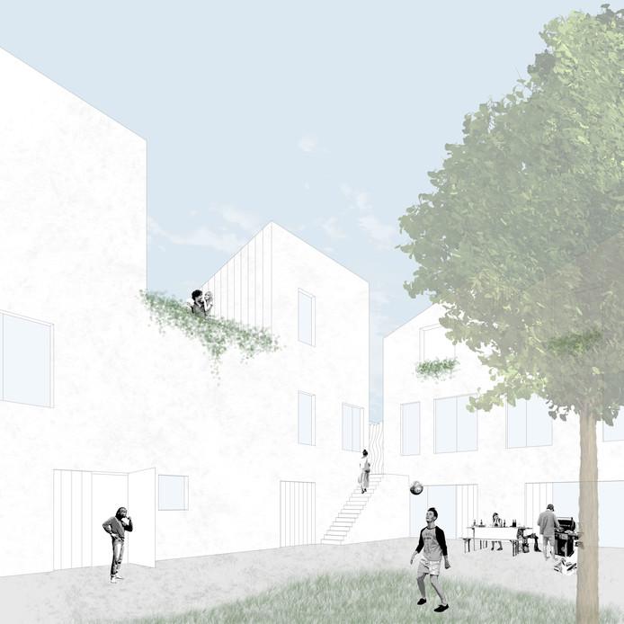 Het gezamenlijke binnenhof van het 'ambachtsdorp' en de woningen van Made by NRE.