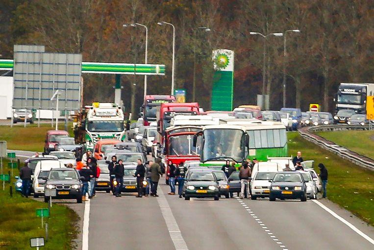 Blokkade op de snelweg in Friesland, afgelopen zaterdag. Beeld ANP
