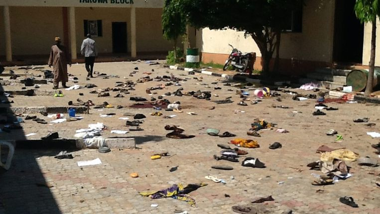 Beelden van een bomaanslag op een openbaar gebouw in Nigeria in juli van dit jaar. De zelfmoordterrorist was vermoedelijk een aanhanger van Boko Haram.