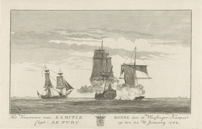 Pierre le Turcq verovert begin 1782 l'Amitié Royal, een Franse Oost-Indiëvaarder die door de Engelsen in beslag was genomen. collectie Rijksmuseum Amsterdam