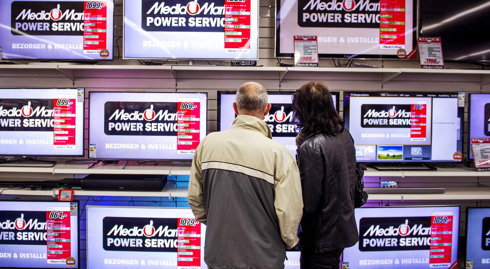 De televisieafdeling van een vestiging van Mediamarkt.
