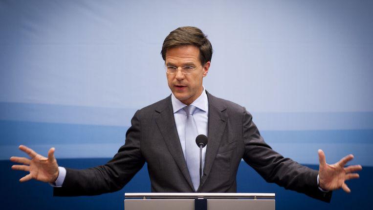Premier Rutte vandaag tijdens zijn eerste persconferentie als premier van het tweede kabinet-Rutte. Beeld ANP