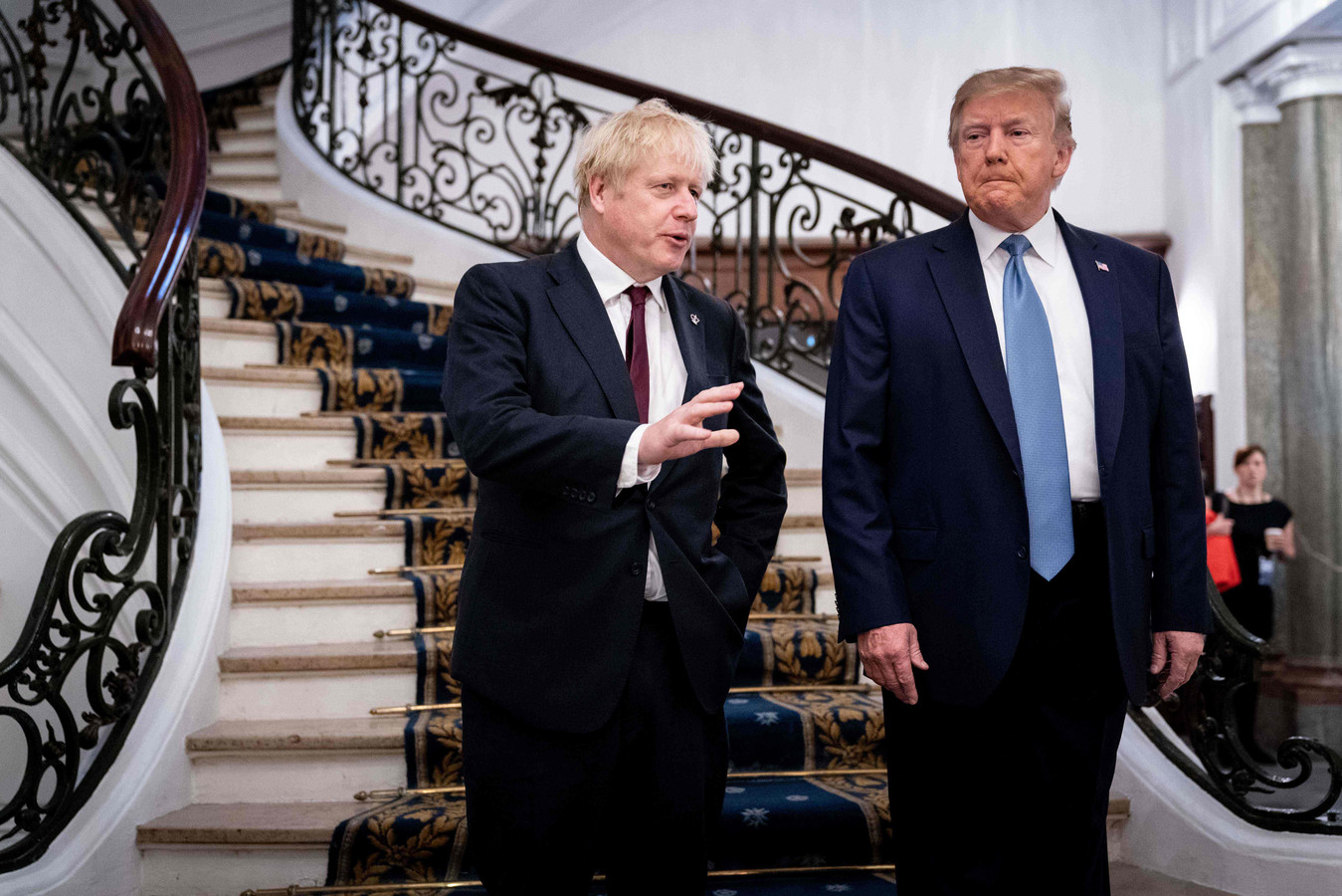 De Britse premier Boris Johnson (links) met de Amerikaanse president Donald Trump op de G7-top in het Franse Biarritz in augustus.