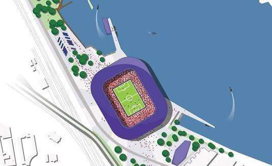 Het stadion, ingetekend aan de westkant van de Veranda.