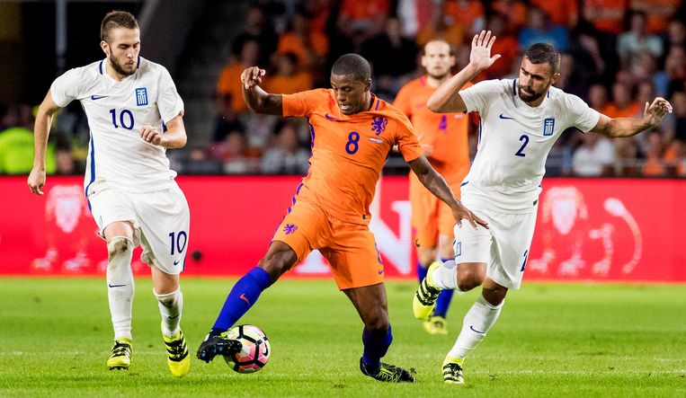 Giorginio Wijnaldum in actie voor Oranje tijdens het WK-kwalificatieduel met Griekenland op 1 september 2016. Beeld null
