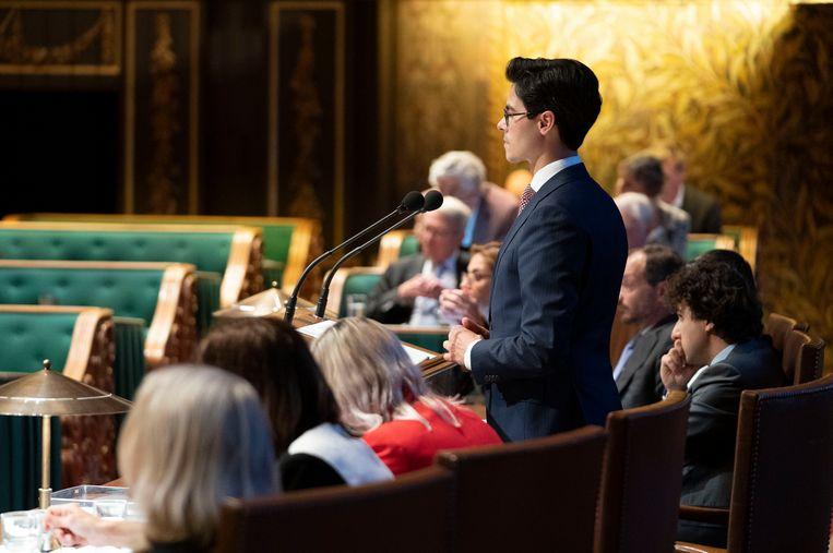 Mede-indiener Rob Jetten (D66) tijdens de behandeling van de Klimaatwet in de Eerste Kamer.   Beeld Freek van den Bergh