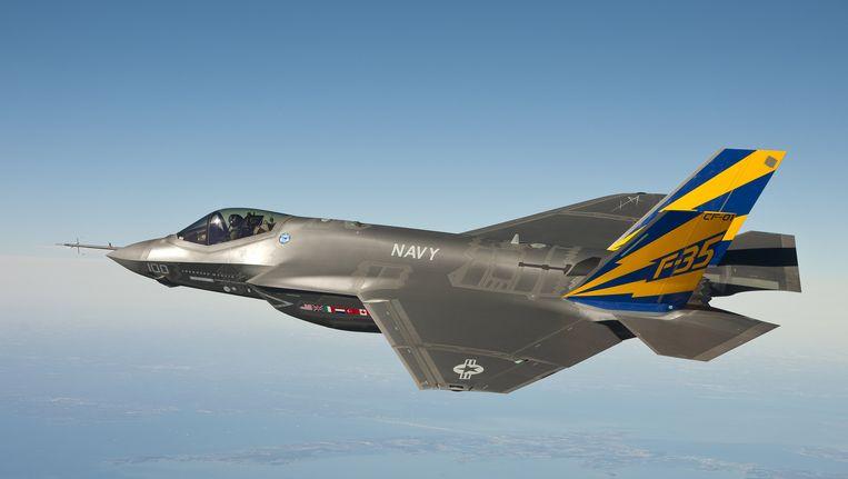 De JSF tijdens een oefenvlucht Beeld AFP