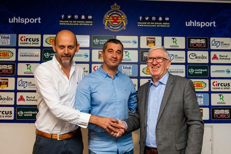 Danny De Maesschalck hier links van Adnan Custovic en Jozef van Remoortel.