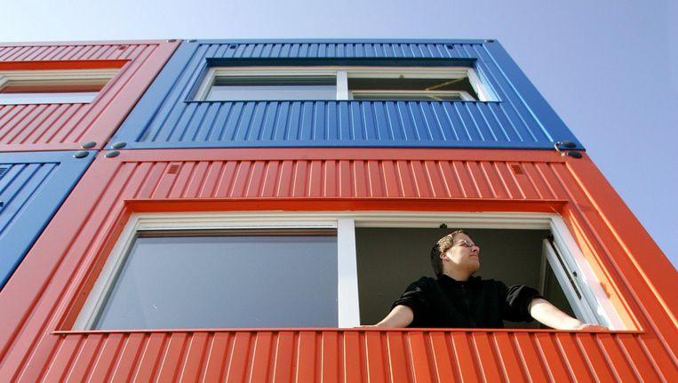 Containers fungeren als studentenwoningen op onder andere de NDSM-werf. De Key wil zich uitsluitend gaan richten op jongeren, starters en studenten. Beeld anp