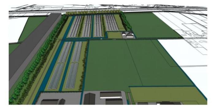 Het zonnepark aan de oostzijde van bedrijventerrein Heesch-West zou er volgens variant 4, de voorkeursvariant van het college van B en W, zou uit komen zien. Buurtbewoners zijn tegen deze variant.