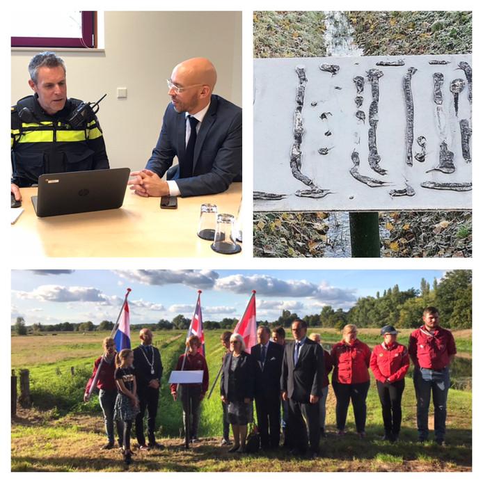 Burgemeester Han Looijen deed donderdag aangifte van de diefstal van een plaquette van het nieuwe oorlogsmonument in Sint-Michielsgestel. Onderste beeld: de onthulling van het monument op 19 september.