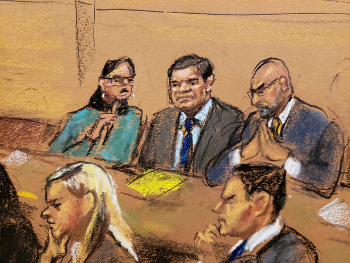 El Chapo in de rechtbank in Brooklyn, New York.