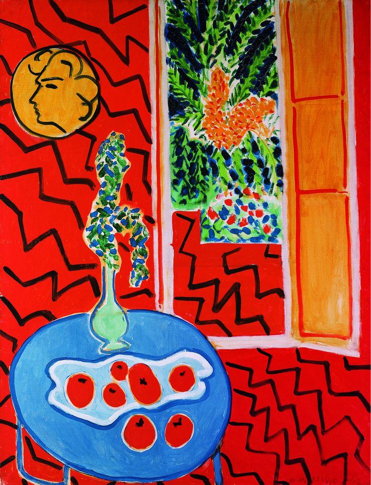Intérieur rouge: nature morte sur table bleue, 1947. Beeld Walter Klein