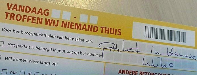 Dit briefje kreeg Vincent Wever in zijn bus.