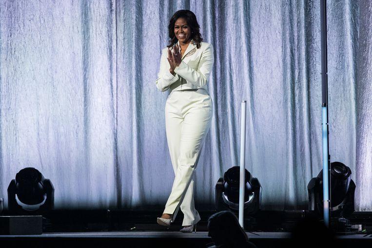 Michelle Obama tijdens haar optreden in Stockholm afgelopen woensdag. Beeld Getty Images