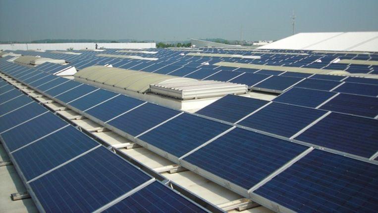Zonnepanelen op een bedrijventerrein in Diest, België. Beeld Scheuten Solar
