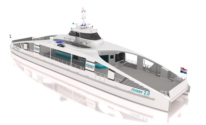 Het ontwerp voor de nieuwe elektrische veerboot van Riveer.