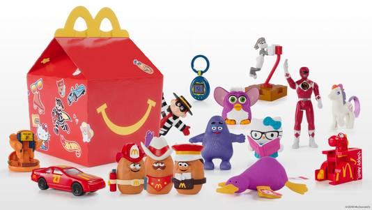 De speeltjes van Happy Meal door de jaren heen. Na de Kinderboekenweek zijn ze weer terug.