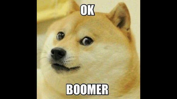 Een bekende meme met opschrift 'Ok, boomer'.