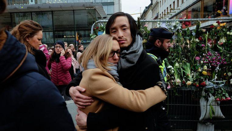 Zweden rouwen in Stockholm na de aanslag van vrijdag. Beeld Hollandse Hoogte