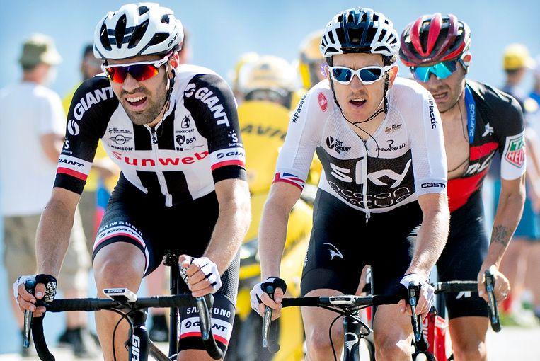 La Rosiere Tom Dumoulin (links) vlak voordat hij de elfde etappe verliest van Geraint Thomas (rechts) van het geoliede Team Sky. Beeld Klaas Jan van der Weij