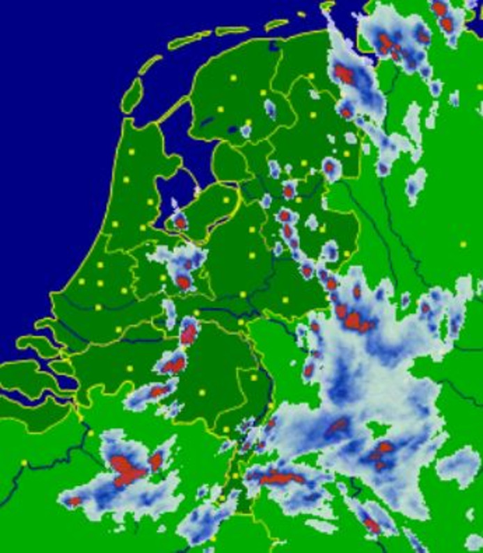 Onweersbuien boven Overijssel, Gelderland en Flevoland
