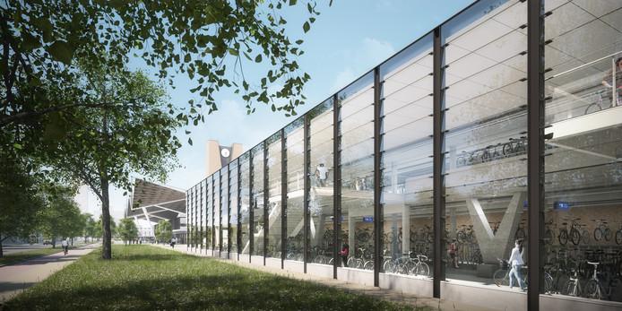 Impressie van de zuidelijke deel van Fietshotel Tilburg. Eind 2021 moet je er je tweewieler kunnen stallen.