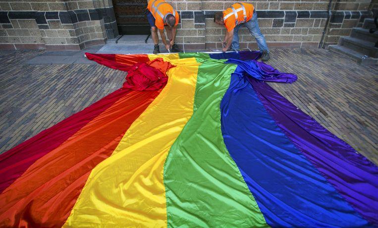 De regenboogvlag wappert voor de holebi's.