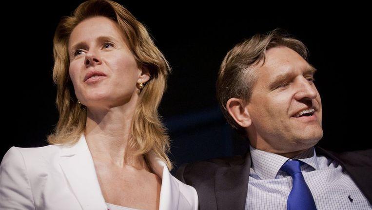 Kandidaat-lijsttrekkers Mona Keijzer en Sybrand van Haersma Buma gisterenna afloop van het CDA lijsttrekkersdebat in theater Podium Bloos in Breda. Beeld anp