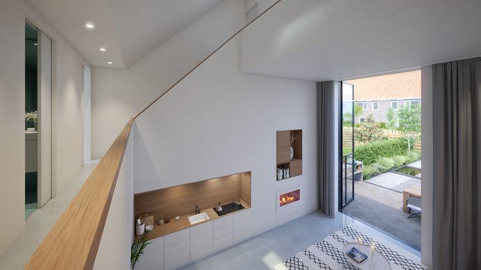 Een trap die door het huis meandert verbindt alle vertrekken met elkaar. Een open overloop is de verbinding tussen alle ruimten. Vanaf de overloop heb je altijd spannende doorkijkjes.