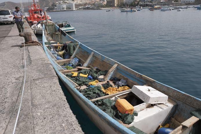Archiefbeeld: met dit kleine bootje kwamen op 2 augustus zo'n 35 migranten uit Afrika aan in Gran Canaria.