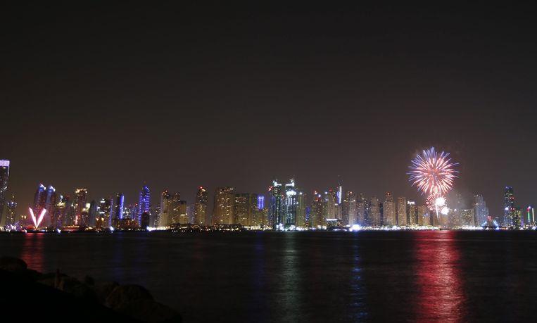 Vuurwerk boven Abu Dhabi op 'National day', op 3 december 2015. Beeld epa