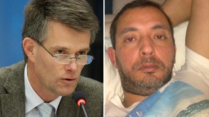 Redouan Taghi, Neerlands meest gezochte crimineel (rechts) stelde voor om de vooraanstaande officier van justitie Koos Plooij (links) te 'laten slapen'.