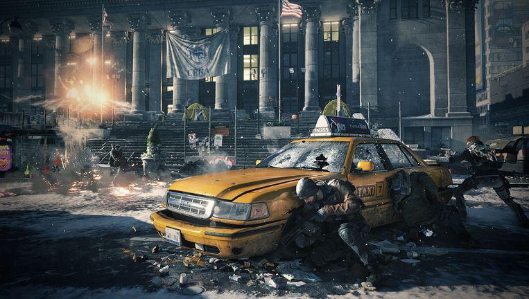 De strijd tussen de reguliere taxi's en Uber loopt de spuigaten uit in The Divisions New York. Beeld Ubisoft