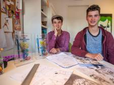 Tweelingbroers uit Leende met talent voor tekenen