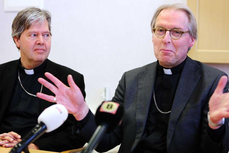 Bisschop Gerard de Korte tijdens een persconferentie in het bisschoppelijk paleis. Beeld ANP