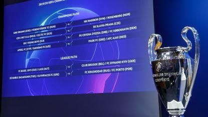 Deze ploegen kunnen Club Brugge en Racing Genk loten in Champions League
