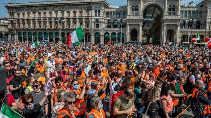 Verschillende betogingen tegen regering van Conte in Italië, ondanks verbod