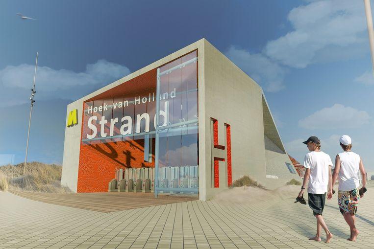 Impressie van het nieuwe station Hoek van Holland Strand. Beeld Gemeente Rotterdam
