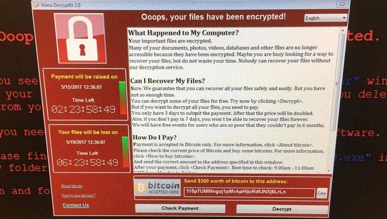 Ransomware blokkeert het computersysteem. Er verschijnt een bericht waarin gevraagd wordt om een som geld te betalen als je je bestanden terug wilt.