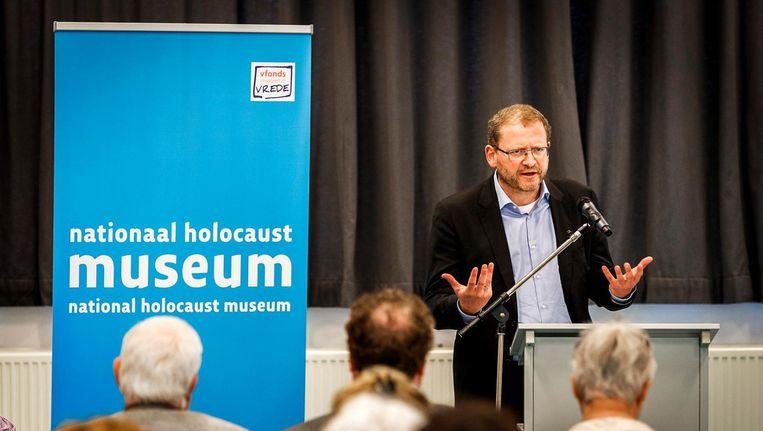 Emile Schrijver, algemeen directeur van het Joods Cultureel Kwartier, tijdens de heropening van het Nationaal Holocaust Museum. Beeld anp