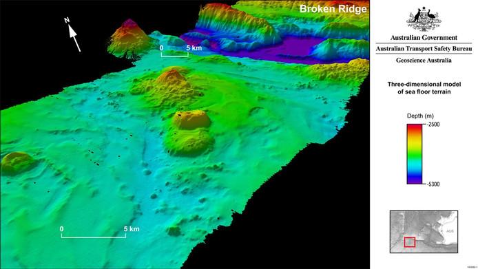 De zeebodem in kaart gebracht waar MH370 kan zijn neergestort.
