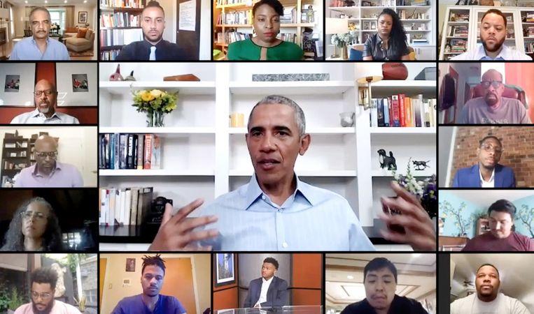 Barack Obama spreekt jongeren woensdag toe via Zoom. Beeld AFP