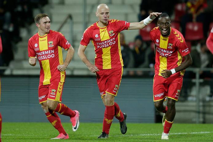 De doelpuntenmakers van GA Eagles: Martijn Berden , Elmo Lieftink en Maecky Ngombo