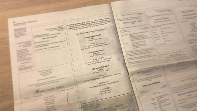 De rouwadvertentie in het Nederlands Dagblad