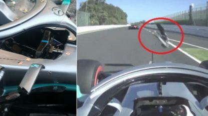 Hamilton beleeft schrik van z'n leven als voorvleugel op zich afstormt, ook Verstappen woest op eigenzinnige Leclerc