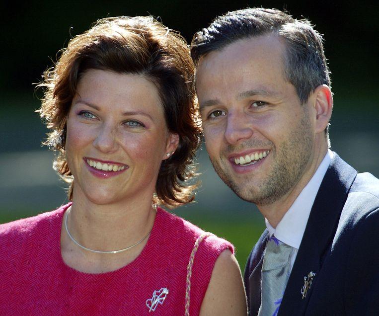 Prinses Märtha Louise en Air Behn enkele dagen voor hun huwelijk in 2002.
